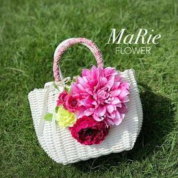 Flower Bag White M     【Pink Dahlia】