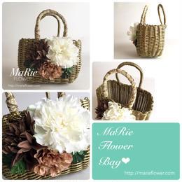Flower Bag Gold M     【Monstera×Natural】