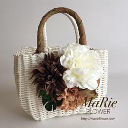Flower Bag White M     【Monstera×Natural】