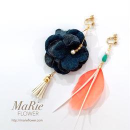 Flower accessory 【羽×デニム】