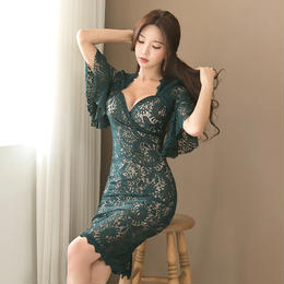 ワンピース❤韓国ドレス 花柄レースのセクシーなグリーンワンピース hdfks961946