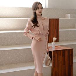 ワンピース❤上品清楚なホルターネックのタイトワンピースドレス hdfks961785