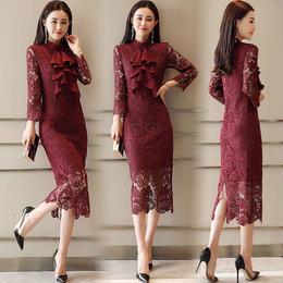 ワンピース❤韓国ドレス ボウタイリボンが大人可愛い過ぎる総レースタイトワンピ hdfks962052