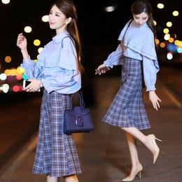 ワンピース❤ブルーが鮮やかなフリルブラウスとチェック柄のスカートのセットアップワンピ hdfks961775