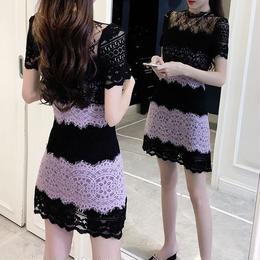 ワンピース❤韓国ドレス レースとパープルが大人の魅力で可愛いミニワンピ hdfks962091