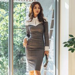 ワンピース❤バイカラー襟付きのオフィスも行ける大人タイトワンピ hdfks961902