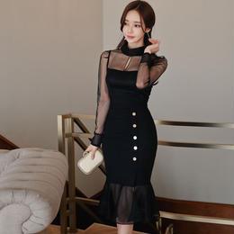 ワンピース❤韓国ドレス 巻きスカートぽいマーメードスカートが大人可愛いブラックドレス hdfks962087