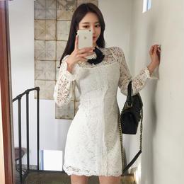 ワンピース❤韓国ドレス リボンがとっても可愛い花柄レースのフェミニンガーリーなミニワンピ hdfks962069