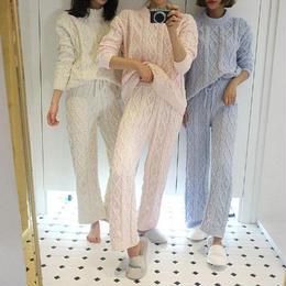 ルームウェア❤パジャマパーティー・双子コーデにケーブルニットパジャマ hdfks961967