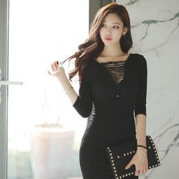 ワンピース❤胸元の編み上げがセクシーなタイトドレスワンピ hdfks957096