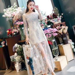 ドレス❤ワンピース 幻想的な花柄刺繍のシースルーで上品清楚なパーティドレス! hdfks961121