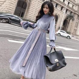 ワンピース❤ベロアの袖コンシャスにシフォンロングスカートの素敵な可愛いワンピース hdfks961973