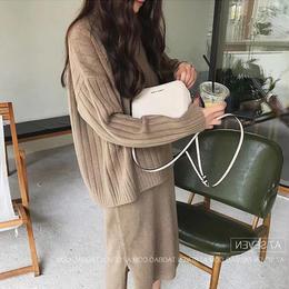 ワンピース❤セットアップ ノースリーブニットワンピにトップスセーターが付いてお得可愛い hdfks961805