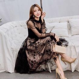 ワンピース❤韓国ドレス 星柄チュールスカートにドットレースのトップで可愛い個性的ワンピ hdfks962081