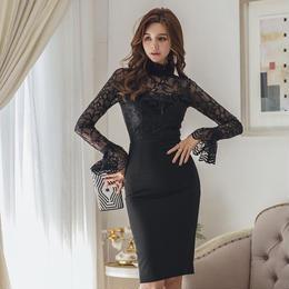 ワンピース❤韓国ドレス エレガントセクシーな花柄シースルーのタイトワンピ hdfks961852