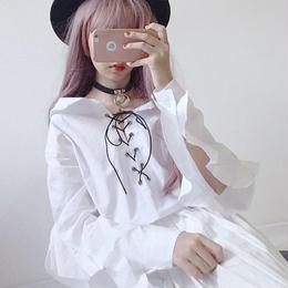 トップス❤ブラウス めちゃ可愛い編み上げ袖フリルのブラウス! hdfks961228