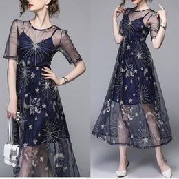 ワンピース❤星柄のスパンコールが素敵なシースルーなお呼ばれ韓国ドレス hdfks961623