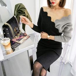 ワンピース❤韓国ドレス バイカラーで胸元からデコルテあたりがセクシーなタイトワンピ hdfks961820