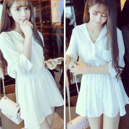 ワンピース❤可愛い純白のミニフレアなシャツワンピ hdfks961088