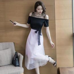 ワンピース❤韓国ドレス ウエストリボンとオフショルダーにチュールスカート可愛いパーティードレス hdfks962079