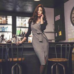 ワンピース❤韓国ドレス 前後ろでガラッと変わるバイカラーがお洒落なタイトワンピース hdfks961945