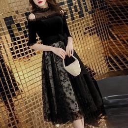 ワンピース❤韓国ドレス 可愛いフリルとレースのショルダーに花のような星柄スカートのパーティードレスワンピ hdfks962082