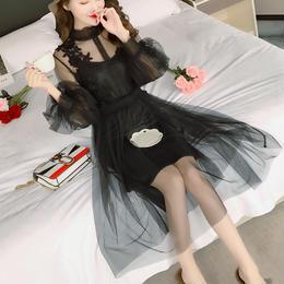 ドレス❤ワンピース 可愛い花とシースルーが素敵な大人なワンピース hdfks958116