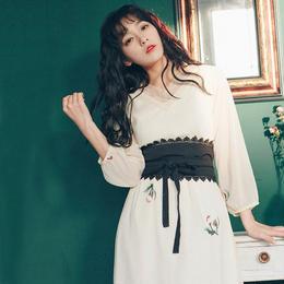 ワンピース❤韓国ファッションの帯つき刺繍いりのホワイトワンピ hdfks961193