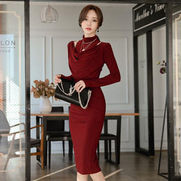 ワンピース❤韓国ドレス チラッと見えるデコルテが、とってもエレガント大人な主役になれるタイトワンピース hdfks962033