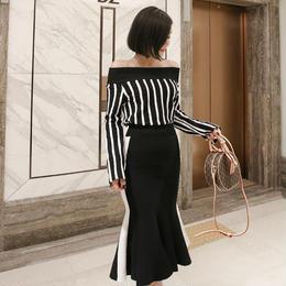 ワンピース❤バイカラー 縦縞オフショルトップスとマーメードブラックスカートのツーピース hdfks961853