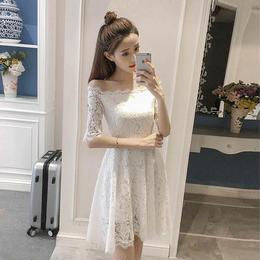 ワンピース❤韓国ドレス オフショルダー花柄総レースのガーリーミニワンピ hdfks962107
