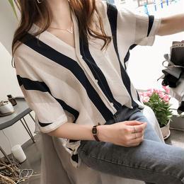 ブラウス❤トップス ちょいドルマンスリーブ気味の半袖ストライプBFシャツ hdfks961352