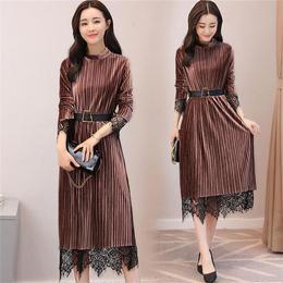 ワンピース❤韓国ドレス 全体プリーツにちらっと見えるレースが可愛い大人ワンピース hdfks961856