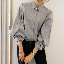 リボン❤シャツ ストライプで袖のリボンが可愛いパフスリーブシャツ! hdfks960005