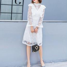 ワンピース❤韓国ドレス 純白レースが清楚でとっても可愛い大人ガーリーワンピ hdfks962092