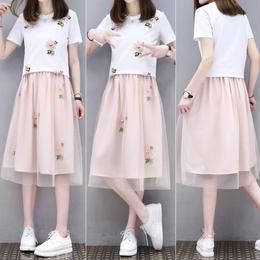 ワンピース❤シフォンスカートの切り替えワンピ!韓国ファッション花柄刺繍、可愛すぎて選んじゃいました! hdfks961295