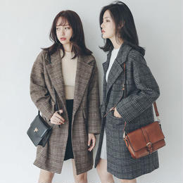 アウター❤チェック柄、手軽に着れて可愛い人気のコート hdfks961789