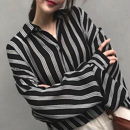 ブラウス❤トップス レトロストライプのお洒落な韓国ファッション hdfks961350
