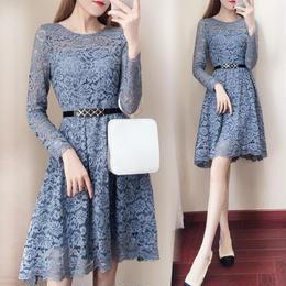 ワンピース❤韓国ドレス 大人色の花柄総レースブルーでスカートちょいフィッシュテールワンピ hdfks962105
