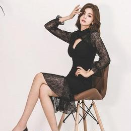 ワンピース❤韓国ドレス 可愛いレースにタイトスカートセクシーなドレスワンピース hdfks962041