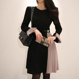 ワンピース❤韓国ドレス スカートと袖のプリーツがお洒落な大人ワンピ hdfks962005