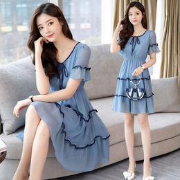 ワンピース❤可愛い鮮やかブルーでガーリーな感じのミニ丈ワンピ hdfks961190