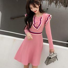 ワンピース❤トリコロールにフリル可愛いピンクとブラックのお嬢様ワンピース hdfks961981