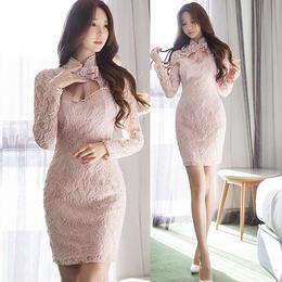 ワンピース❤韓国ドレス ピンクは正義なリボンと花柄レースのとってもフェミニンミニワンピ hdfks962071