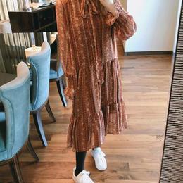 ワンピース❤ボウタイリボンと柄がカウィイ韓国オルチャンファッション! hdfks958095