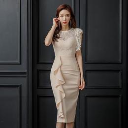 ワンピース❤韓国ドレス フリルアシンメトリーと胸元背中シースルーレースのパーティードレス hdfks962119