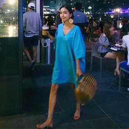 ワンピース❤韓国ファッション鮮やかブルーのVネックチュニックワンピース! hdfks961530
