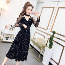 ワンピース❤韓国ドレス 人気の星柄に肩レースでネックが可愛いワンピース hdfks962046