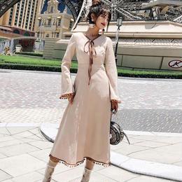 ワンピース❤ボウタイリボンとスカート裾のフリンジがとっても可愛いナチュラルガーリーフレアワンピ hdfks961940
