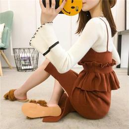 ワンピース❤フレア袖とキャミソールみたいなトップスとニットスカートのセットアップ hdfks961754